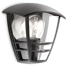 Philips myGarden Creek - Aplique de exterior, empotrado, casquillo gordo E27, bombilla no incluida, 19.5 cm, color negro