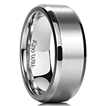 King Will Basic 8MM Titanium Ring Stainless Steel Brushed/Matte Comfort Fit Wedding Band for Men W 1/2