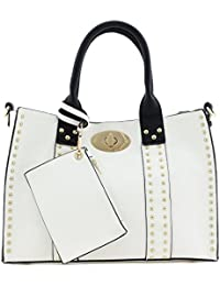 3pc Set Studded Turn Lock Tote Bag With Crossbody (White)