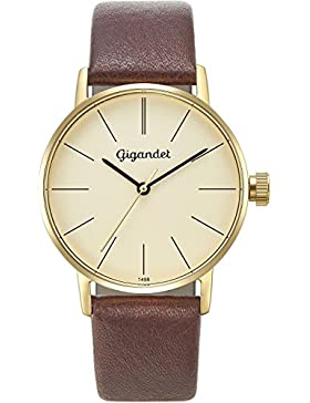 Gigandet Damen-Armbanduhr Minimalism Quarz Uhr Analog Lederarmband Gold Braun G43-009
