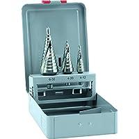 alpen, 72200003100, HSS trapano passo, misura 1, 2, 3, 4-30 mm di diametro come set 3 pezzi in cassetta di metallo