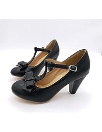 4a886da353cf4 PINGXIANNV Décolleté con cinturino con fibbia a T con laccetto dolce Lolita scarpe  di grosso spessore con tacco…