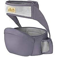 Viedouce Portabebé Ergonómico Asiento de Cadera,con Protección del Cinturón la Seguridad,Algodón Puro Ligero,Taburete de Cintura de Posición Múltiple por Bebé Niños 3-48 Meses