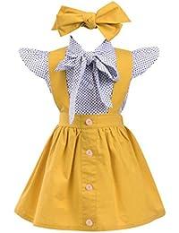 PAOLIAN Conjuntos para Niñas Blusas + Falda de Tirantes + Diadema de Impresion Lunares de para bebés Niñas Verano…