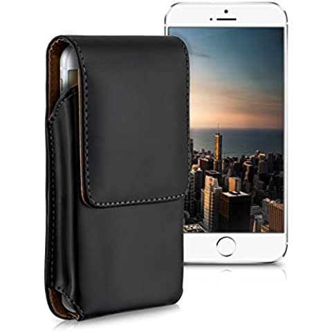 kwmobile Funda para cinturón para Smartphones con clip para cinturón - Funda para cinturón de piel sintética con pasador en negro - compatible por ej. con Samsung, Apple, Wiko, Huawei, LG, Sony, HTC, OnePlus, ZTE, Microsoft, Nokia, Blackberry