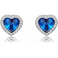 YANSHG® Joyería Pendiente Cristal azul en forma de corazón para mujer tres veces de chapado