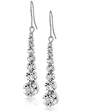 Neoglory Jewellery Silber Ohrringe mit Strass Kugel lang luxus elegant