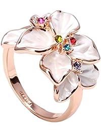 FASHION PLAZA weiß Schmelz & mehrfarbig Kristall Blumen Ring (verfügbar in Größe K L N P R) R79 57(18.1)