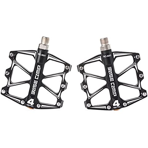 2 PCS Pro Aluminum Alloy Black Universal Road Bike Pedals,MTB/BMX Road Mountain Bike Bicycle Platform Pedals Flat Alloy Sealed Bearing 9/16