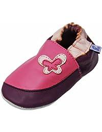 Lappa.de - Zapatillas de piel para niños (suela de ante, tallas de la 19 a la 31), diseño de mariposa, color rosa y morado