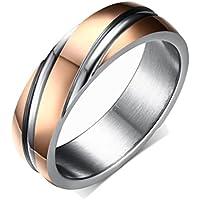 Yc Top Fashion Wedding Rings semplice in acciaio al titanio, placcato in oro rosa, con (Heavyweight Jeans)