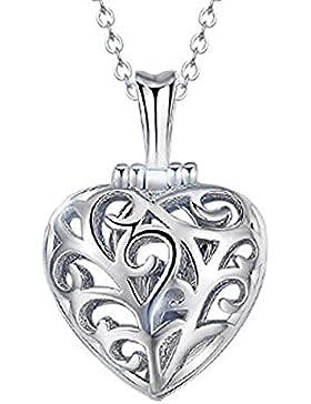 findout Damen Sterling Silber hohle Rosa / Weiß Kristall Ring in Herz-Anhänger Halskette .für Frauen Mädchen (...