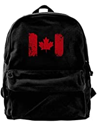 Unisex Canadian Flag Casual Style Lightweight Canvas Backpack School Bag Travel Daypack Rucksack
