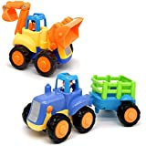 Early Education 1 Year Olds Baby Toy Push and Go Friction Powered Car Toys Sets of 2 Tractor, Bulldozer for Children & Kids B