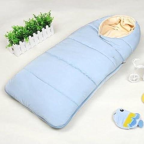 Saco de dormir bebe sleeping bag baby Otoño y el invierno espesan el dormir del bebé recién nacido suministros niño recién nacido está llevando a cabo contra las mantas Tipi al bebé recién nacido , light blue