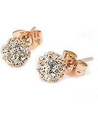 Lily Jewelry - Pendientes chapados en oro con cristal de Swarovski para mujer