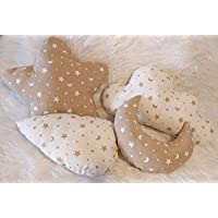 Pack de 4 cojines blanditos, para decoración de cunas y dormitorios infantiles. Nube, Estrella, Gota y Luna. Tamaño pequeño. Un bonito regalo hecho a mano.