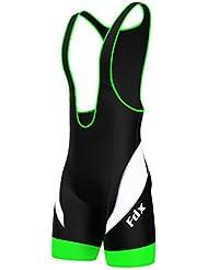 La tecnología FDX Mens CULOTE de ciclismo ciclo acolchada rendimiento pantalones cortos, color  - Black/Green/White, tamaño large