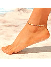 d9d5a323302b Jovono Boho turquesa tobilleras abalorios estrella pulseras tobilleras Beach  Foot para mujeres y niñas (oro