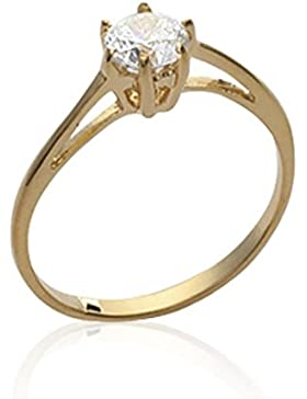 ISADY - Agnetha Gold 5mm - Damen-Ring - 18 Karat (750) Gelbgold platiert - Zirkonium Transparent 5 mm