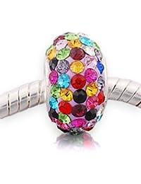 Andante-Stones - original, plata de ley 925 sólida, cuenta de cristal,, elemento bola para pulseras modulares European Beads + saco de organza