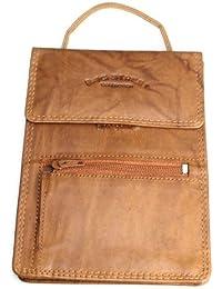 Bag Street # 202Hombre Monedero De Piel, pecho bolsa Pecho Bolso de color marrón camel negro