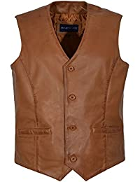 Men's New 5226 Party Fashion Stylish Tan Real Genuine Classic Designer Real Soft Lambskin Leather Waistcoats