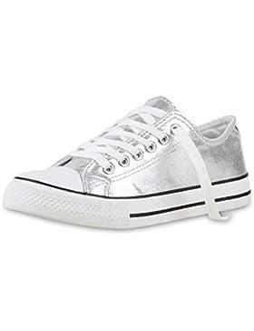 Elegante Damen Sneakers low | Glitzer Canvas Schuhe | Turnschuhe Freizeit | Gr. 36-41