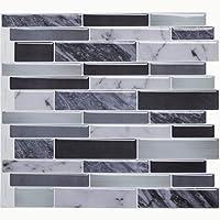 Azulejos autoadhesivos Vamos para azulejos y azulejos, 3D, azulejos de pared para cocina y baño, 28 x 25 cm (6 azulejos)