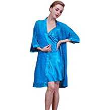 Surenow Albornoz Bata de Baño Pijama para Mujer de Satén Conjunto de 2 Piezas