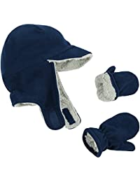 N 'Ice Caps Sherpa Little Boys y bebés, solapa de forro polar gorro manoplas Set