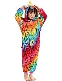 OAMORE Unicornio Pijama Unisexo Animal Ropa de Dormir Cosplay Disfraces Pijamas para Adulto Niños
