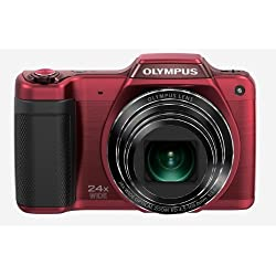 Olympus Stylus SZ-15 16MP Super Zoom Digital Camera with 24x Wide Optical Zoom - Red