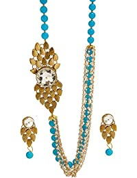 ReTrend Blue Colour With Golden Side Patch Alloy Necklace Set For Women