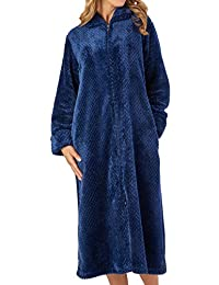 1efb02bbaec2 Slenderella Womens Zip Up Waffle Dressing Gown Ladies Super Soft Flannel  Fleece Bath Robe (S