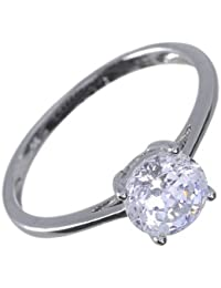 Ivy Gems 9ct White Gold 1ct Finest 100 Cut Swiss Cubic Zirconia Round Solitaire Ring