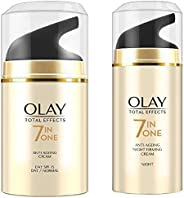 Olay Day Cream Total Effects 7 in 1, Anti-Ageing SPF 15, 50g And Olay Night Cream Total Effects 7 in 1, Anti-A