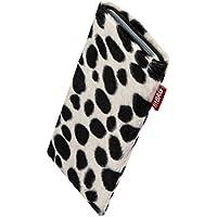 fitBAG Bonga Dalmatiner Handytasche Tasche aus Fellimitat mit Microfaserinnenfutter für Samsung Galaxy S5 / S5 Neo | Schlanke Hülle als edles Zubehör mit praktischer Reinigungsfunktion | Rundumschutz | Made in Germany