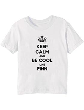 Keep Calm And Be Cool Like Finn Bambini Unisex Ragazzi Ragazze T-Shirt Maglietta Bianco Maniche Corte Tutti Dimensioni...