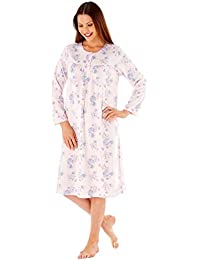 Ladies Embroidered Soft Fleece Long Sleeve Nightie Nightwear Nightdress  Plain or Floral Aqua or Pink 9e189b6ba
