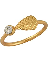 Tribe Amrapali Valentines Day Special Gold Plated Ring For Women (White)(FCR18-003)