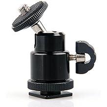 Mini Cabeza de la Bola del Trípode con el Zapato Caliente, CAM-ULATA 1/4 Pulgada el Montaje de Tornillo Cabeza de Bola Giratoria de 360 Grados con el Zapato para la Cámara de DSLR Videocámara LED Video Monitor Luz de Destello Micrófono