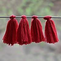 Embroiderymaterial Bordado de algodón con borlas para Hacer aretes y decoración, Color Rojo (50