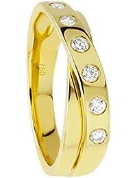Diamond Line Damen - Ring 750er Gold 6 Diamanten ca. 0,25 ct., gelbgold