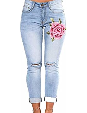 ESAILQ Mujer Otoño Esquina flaca Pantalones bordados pequeños pies pantalones vaqueros elásticos