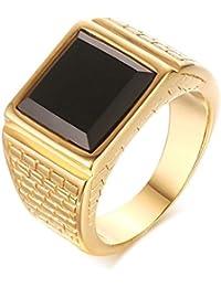 CARTER PAUL Herren Edelstahl Black Onyx Gold Ring Europa und Amerika Art