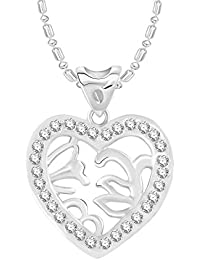 VK Jewels Leafs In Heart Rhodium Plated Alloy CZ American Diamond Pendant With Chain For Women [VKP2731R]