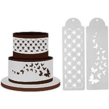 Everpert - Plantilla para tartas (2 unidades), diseño de mariposas