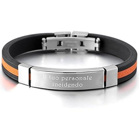 MeMeDIY Arancione Nero Acciaio Inossidabile Gomma Bracciali Bracciale Braccialetto Bangle Polsino Greco - personalizzato (Polsino Del Braccialetto Greco)