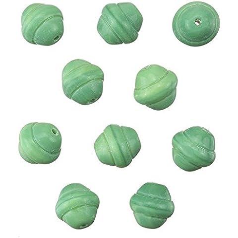 Fancy Saturn Verde Rotondo Perline di Vetro 10mm 10pezzi
